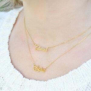 Персонализированное двухименное многослойное ожерелье ручной работы с изогнутыми буквами именная табличка Подвеска на заказ ювелирные из...