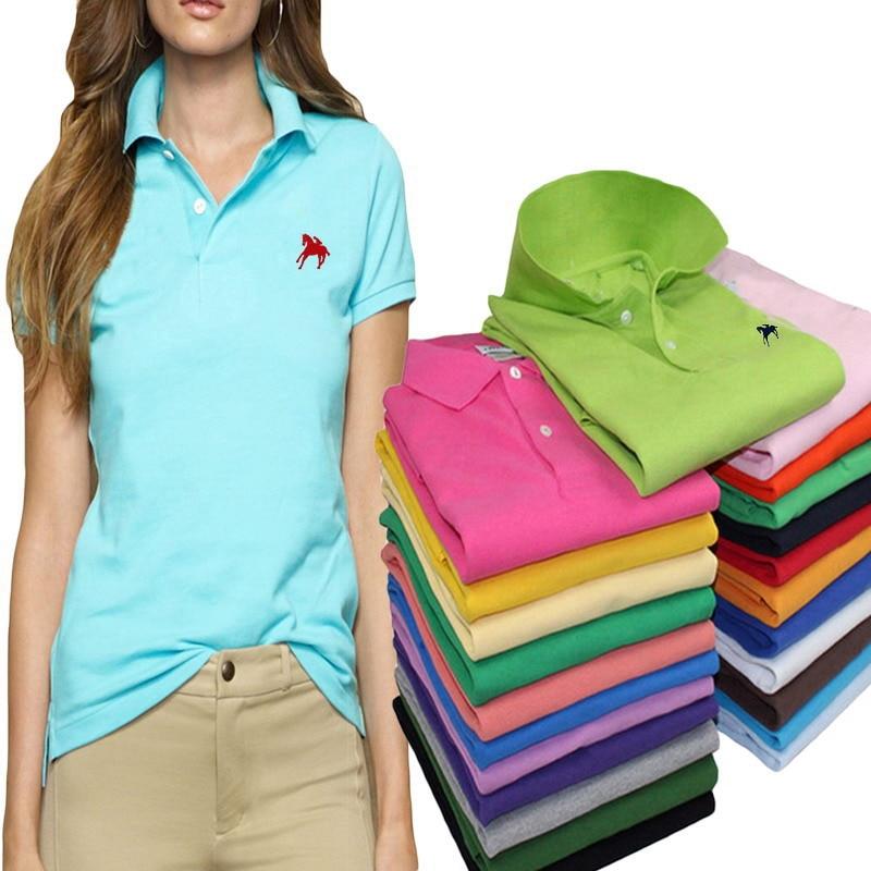 Summer Fashion Cotton Polo Shirt Women New Casual Short Sleeve Slim Polos Shirts Tops Plus Size Female Cotton Polo Shirt Tee
