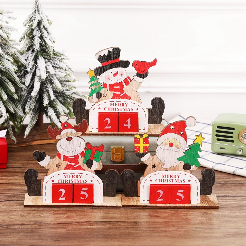 Creative wooden Santa Claus snowman elk calendar decorations office desktop childrens Christmas gifts christmas