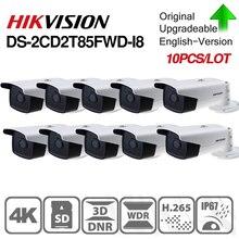 Hikvision oryginalna kamera IP Bullet DS 2CD2T85FWD I8 8mp sieć przewodowa PoE 80m IR stała kamera ochrony wbudowane gniazdo kart sd