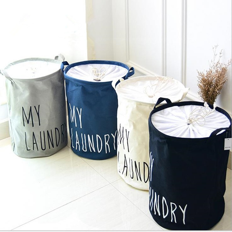 Urijk Cotton Linen Foldable Closure Laundry Basket Kids Toy Buckets Clothes Organizer Hamper Storage Large Capacity Bag Bins