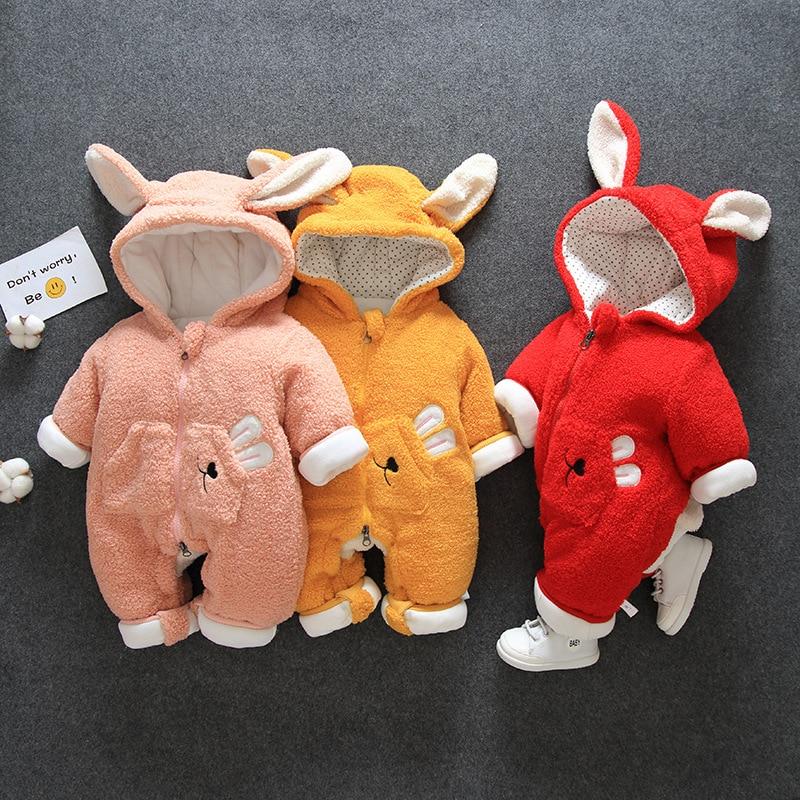 Baby Boy Baby Girl's Clothes Climbing Suit Jumpsuit Thick Warm Jacket Jumpsuit Cartoon Rabbit Jumpsuit Newborn Crawling Suit