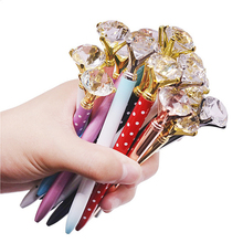 100 шт., роскошная металлическая шариковая ручка с кристаллами, длина 14 см, голубая Шариковая Ручка 0,7 мм для письма, школьные подарочные шариковые ручки для студентов