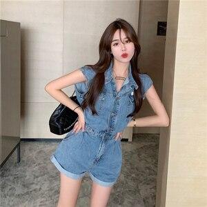 Verão feminino azul denim playsuits manga curta macacão senhoras casual chique jeans macacões