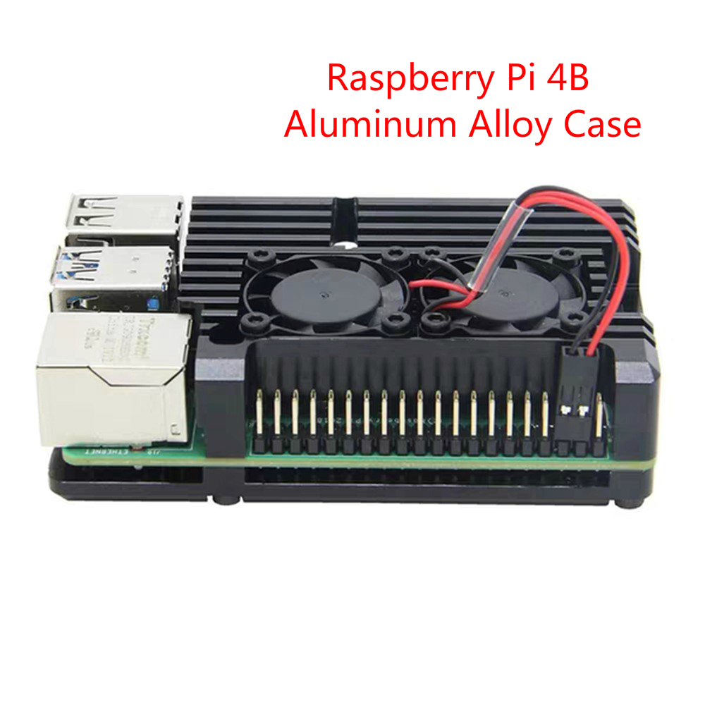 Raspberry Pi 4 Case Aluminum Case Box All Metal With Dual Cooling Fan Heatsink Cooler Shell Enclosure For Raspberry Pi 4 Modle B