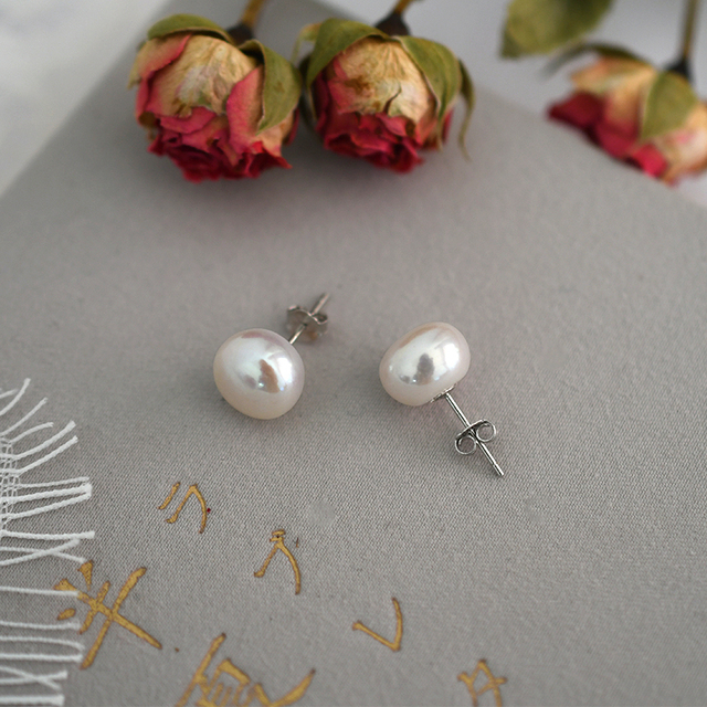 ASHIQI Natural Freshwater Pearl Stud Earrings For Women Real 925 Sterling Silver Jewelry Gift Wholesale 1