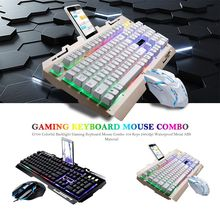 1 Set 104 Keys 2400dpi Gaming Keyboard Mouse Combo Colorful Backlight Waterproof Mechanical for Win 7/8, IOS
