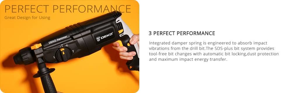 DEKO 220V 26mm 4 Functions AC Electric Rotary Hammer
