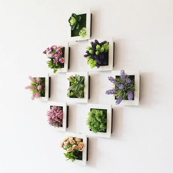 Marco de plantas artificiales removibles 15x15x3, marcos de decoración de pared DIY, marco de pegatina de pared 3D para decoración de habitación, decoración del hogar