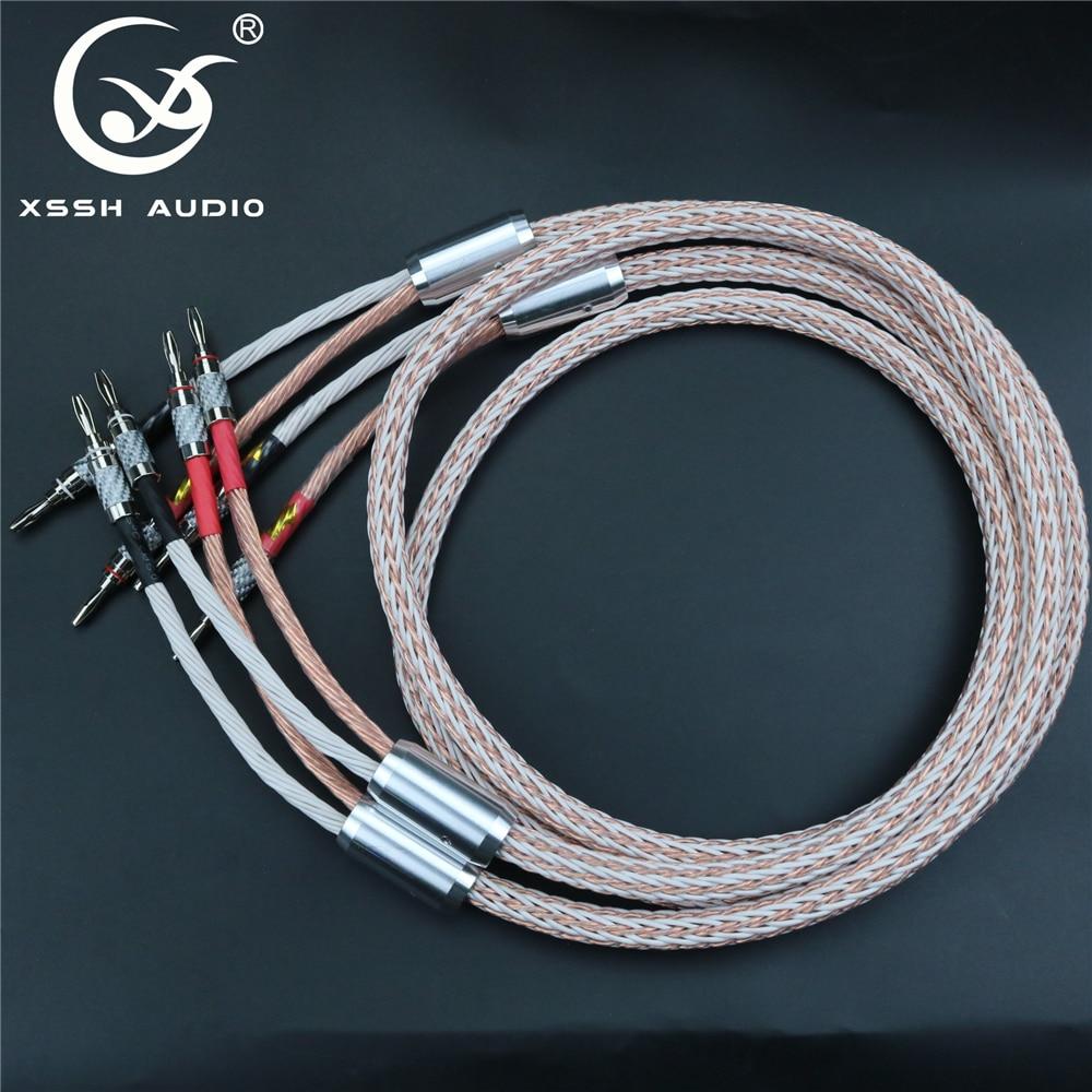 1 par xssh áudio de alta fidelidade fibra carbono ródio banhado banana plug para banana plug ofc cobre 24 núcleo alto-falante cabo fio