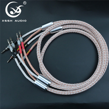 1 pair XSSH audio HIFI carbon fiber Rhodium Plated banana plug to banana plug OFC copper 12TC 24 core speaker cable Cord Wire цена 2017