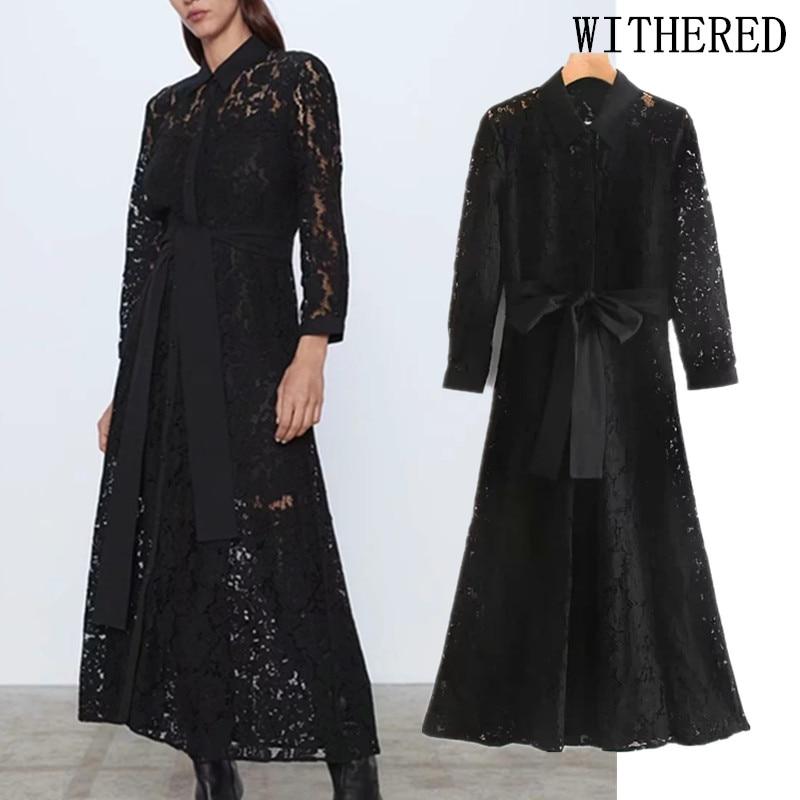 Withered England Elegant Office Lady Vintage Patchwork Lace Sashes Midi Dress Women Vestidos De Fiesta De Noche Vestidos Blazer