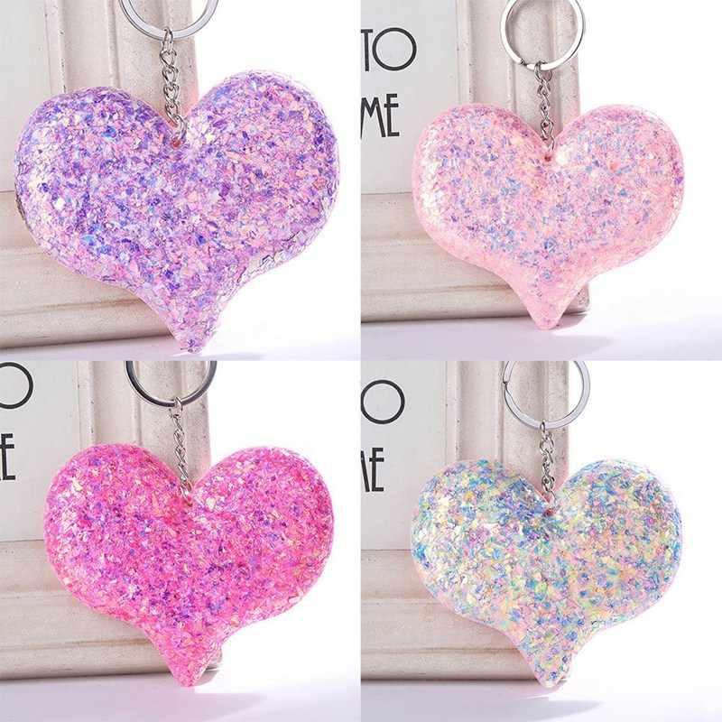 แฟชั่นที่มีสีสัน Sequins รูปหัวใจสะท้อนแสง Glossy Key Chain สีชมพูสีม่วงน่ารักคลาสสิกน่ารักพวงกุญแจ