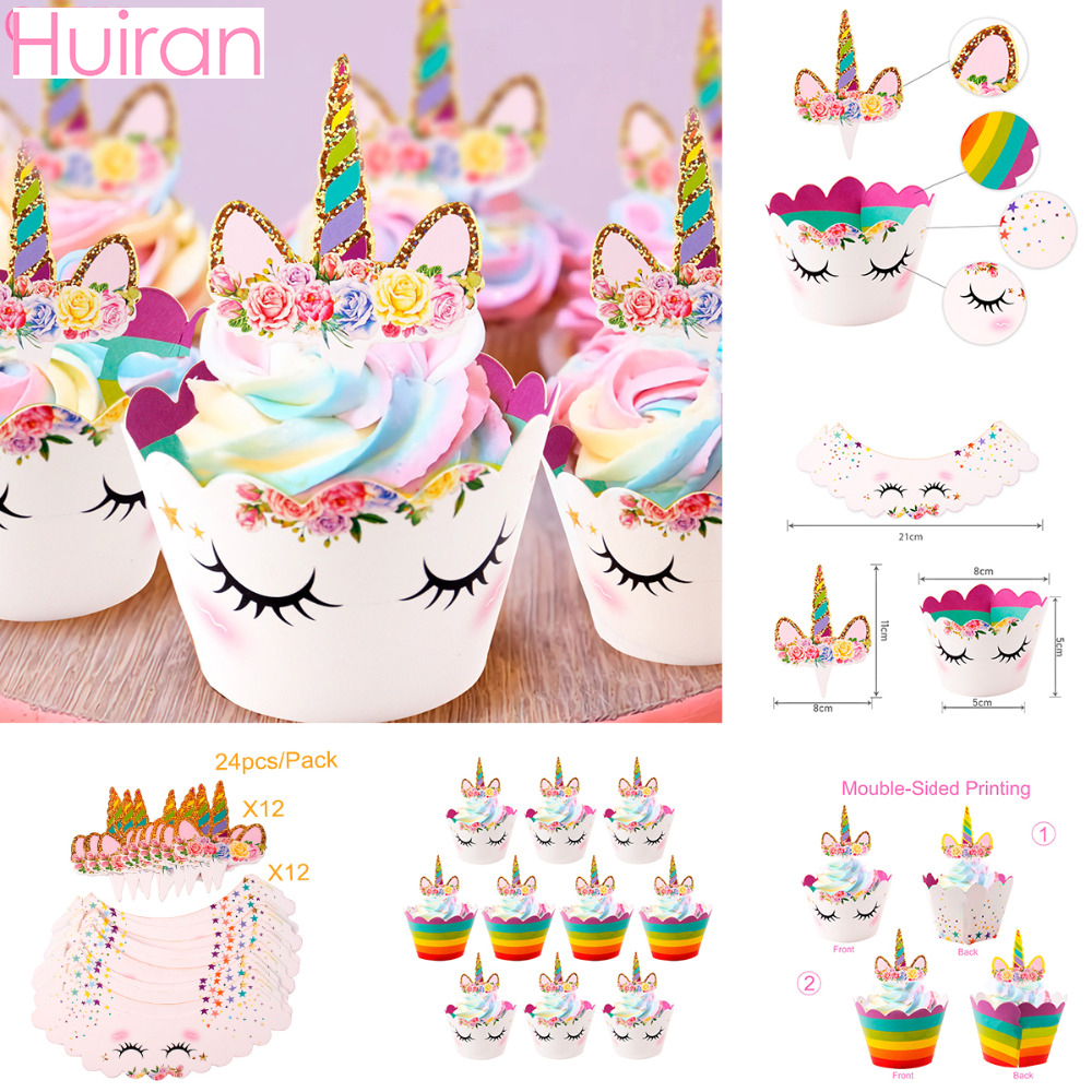HUIRAN Cupcake Wrapper Paper Gift Bag Popcorn Box Rainbow Unicorn Party Decor Unicorn Birthday Party DecorBaby Shower Supplies
