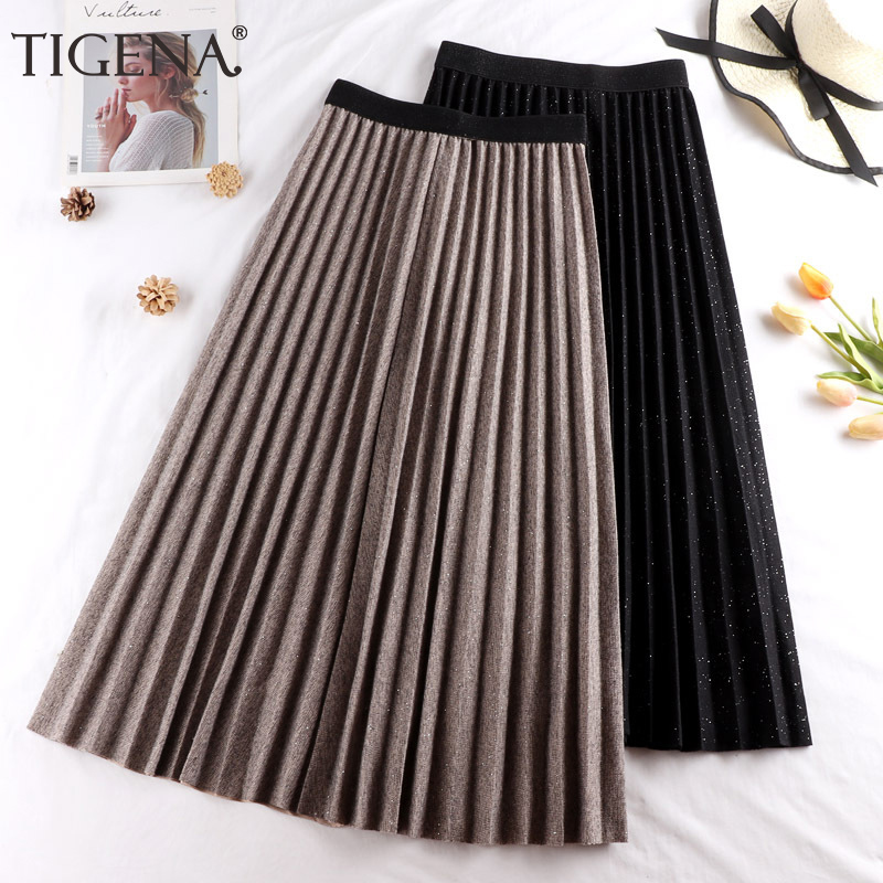 TIGENA Warm Woolen Long Pleated Skirt Women Fashion 2019 Autumn Winter Korean Shiny High Waist Midi Skirt Female Black Khaki
