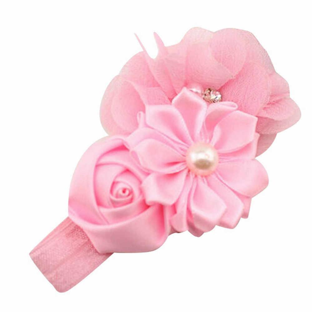 אופנה תינוקת פרח פרל פרח שיער בנד בגימור סרט שיער שיער אביזרי ילדי מתכוונן למתוח גומיית wlosow