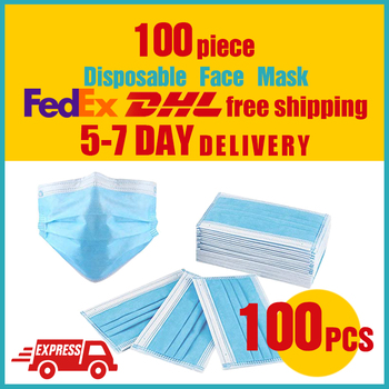 100PCS 3 Layer Protective mask Disposable mouth mask Non Woven Anti-dust face masks ce certification high quality ppe-a01