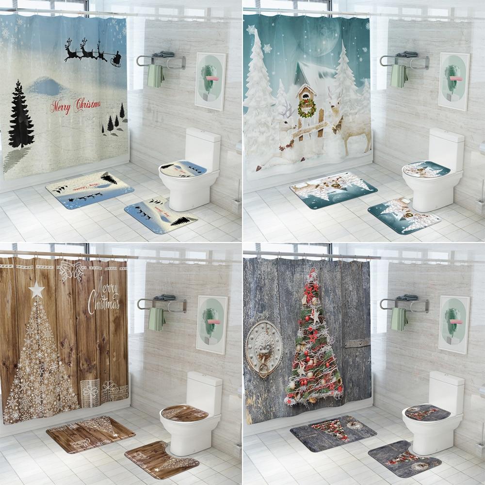 4Pcs//Set Eiffel Tower Lip Shower Curtain Bathroom Toilet Seat Mat Lid Bath Mat