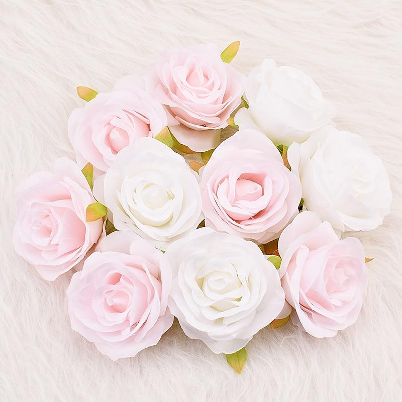 30 шт. 8 см белая роза из искусственного шелка цветочные головки DIY Цветочные настенные свадебные украшения, аксессуары для скрапбукинга иску...