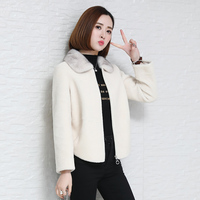 100% Wool Jacket Real Fur Coat Women Clothes 2020 Autumn Winter Coat Women Mink Fur Collar Manteau Femme HK88052 YY1962