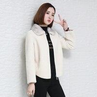 100% Wool Jacket Real Fur Coat Women Clothes 2020 Autumn Winter Coat Women Mink Fur Collar Manteau Femme HK88052 YY1962