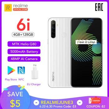 Перейти на Алиэкспресс и купить Realme 6i Новая глобальная версия 4 Гб RAM 128 ГБ ROM мобильный телефон Mediatek Helio G80 5000 мАч аккумулятор 6,5 дюймDewdrop display
