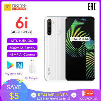 Купить Realme 6i Новая глобальная версия 4 Гб RAM 128 ГБ ROM мобильный телефон Mediatek Helio G80 5000 мАч аккумулятор 6,5 дюймDewdrop display