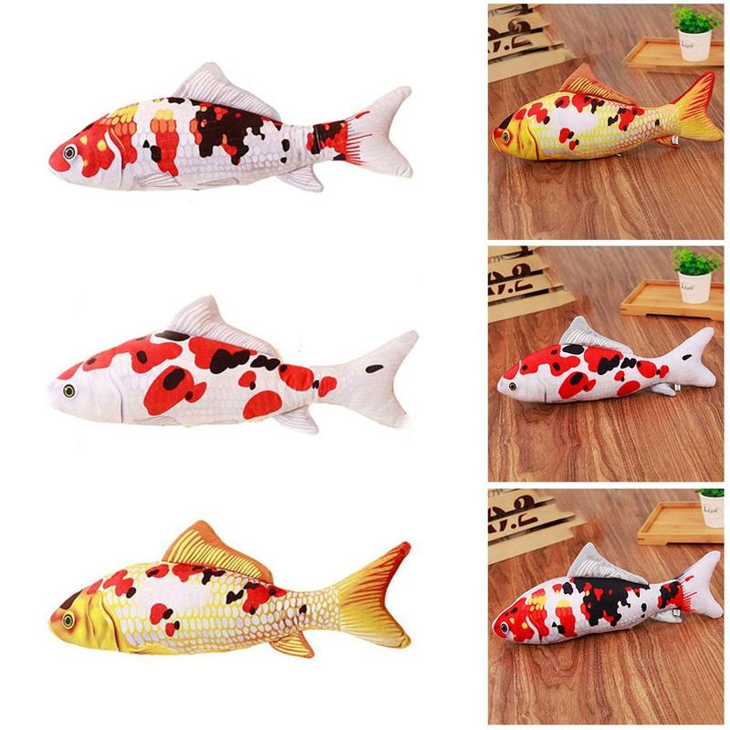2019 Cat Toys Carp Koi Fish Shaped Cotton Plush Exercise Scratch Play Toys For Small Cat Pets Kitten Toy Product Catnip