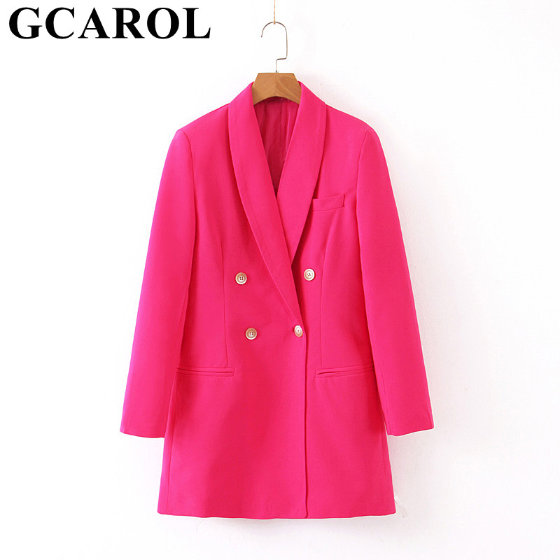 GCAROL New Women Notched Collar Double Breasted OL Suit 2 Pockets Bright Rose Fall Winter Office Long Blazer Outwear