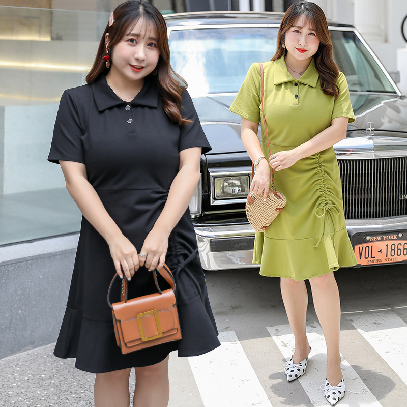 [Xuan Chen] Summer New Products Fat Mm Large Size Dress Plus-sized Sweet Drawstring Dress A Generation Of Fat X052