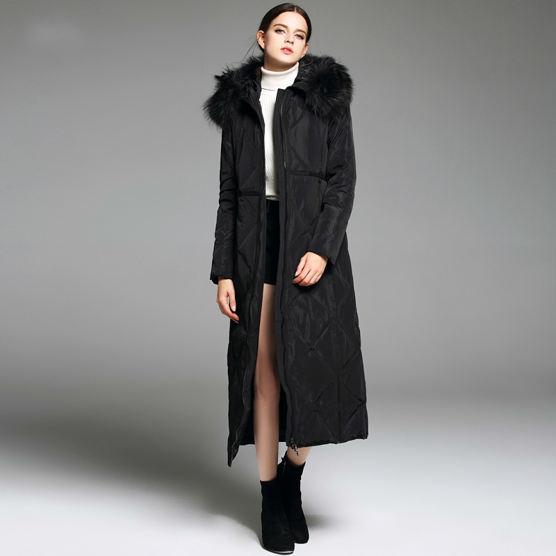 New Long Duck Down Jacket Women Large Fur Collar Women's Jackets Thickened Black Winter Coat Chaqueta Mujer KJ448