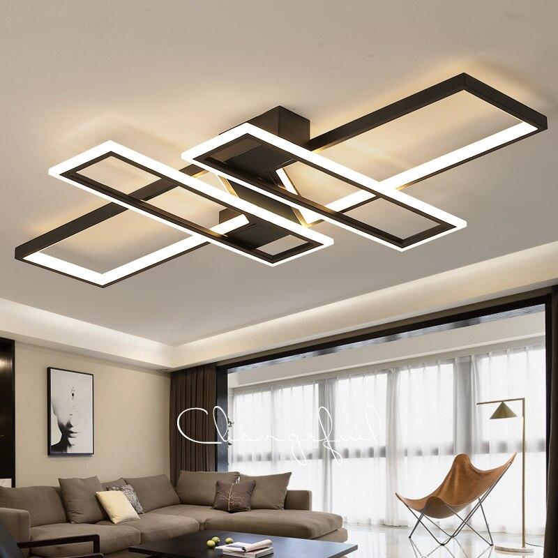 Led lustre de teto luz para sala estar quarto cozinha casa moderna lâmpadas teto controle remoto retângulo preto luminárias