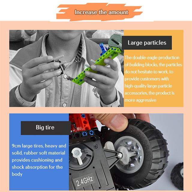839pcs RC City Engineering Truck Car Building Blocks Technic Remote Control Crane Toys for Children Boy Girls