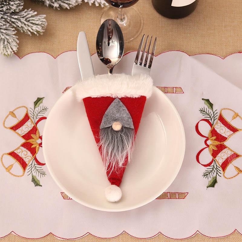 Шляпа Санты, олень, Рождество, Год, карманная вилка, нож, столовые приборы, держатель, сумка для дома, вечерние украшения стола, ужина, столовые приборы 62253 - Цвет: 2PD-63008-2