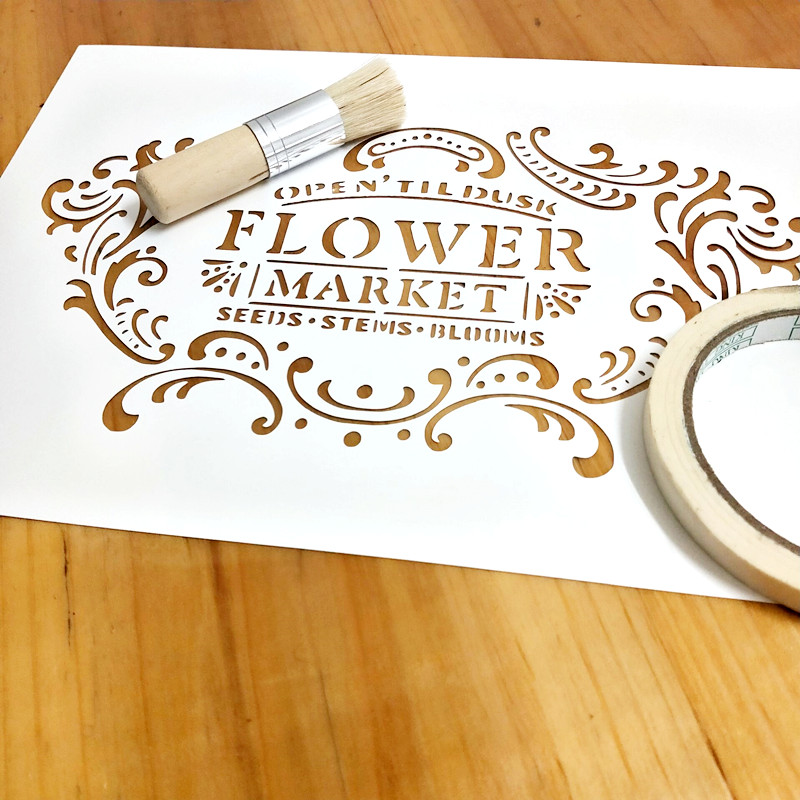 1piece A4,Flower Market Stencil For Painting,Vintage Frame Template For Wood Painting,Furniture,Crafts,Home Decor#784