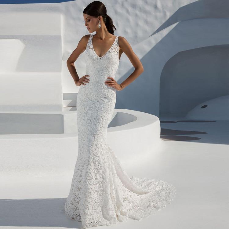 Sexy Mermaid Beach Wedding Dresses V-neck Lace Floor-Length Sleeveless Simple Lace Mermaid Bride Dress Vestido De Noiva