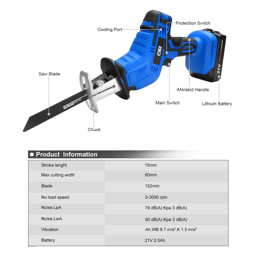 Tools : Reciprocating Saw 21V Cordless Wood Metal PVC Pipe Cutting DIY Chain Saw Power Tool by PROSTORMER