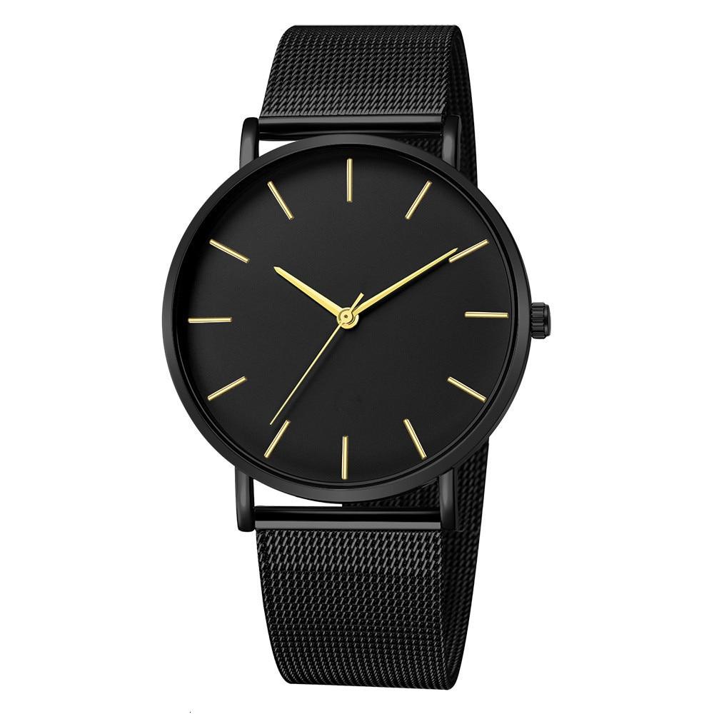 Hcb9be16e4add41938e3d876216036f47n Luxury Watch Men Mesh Ultra-thin Stainless Steel Quartz Wrist Watch Male Clock reloj hombre relogio masculino Free Shipping