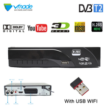 Vmade DVB-T2 HD Digital Terrestrial Receiver Support Dolby AC3 H.265/HEVC DVB-T Hot Sale Europe TV Tuner Set-Top Box + USB WIFI