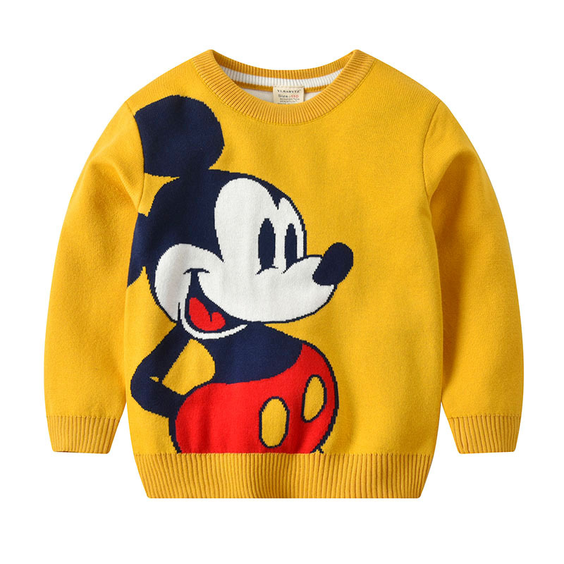 Mickey Knitting Girls Sweater For Children Costume Long Sleeve Spring Cotton T-shirt For Kids Clothes Tops Quality Boys Sweat