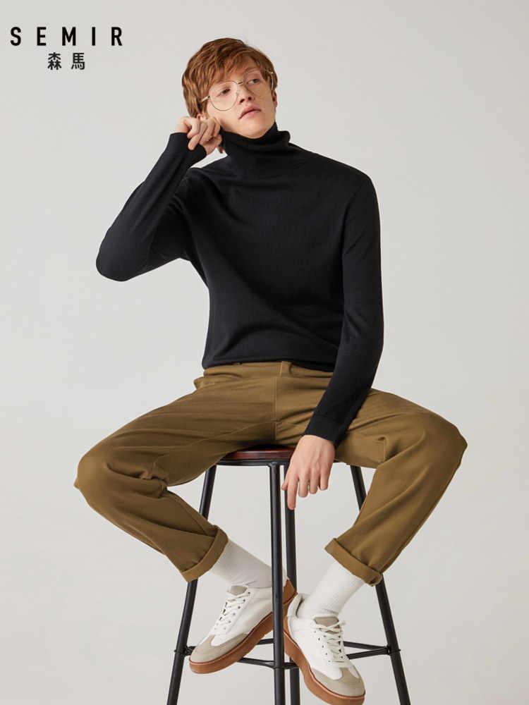Semir 풀오버 스웨터 남자 젊은 겨울 터틀넥 스웨터 2020 따뜻한 스웨터 추세 따뜻한 내부 바닥