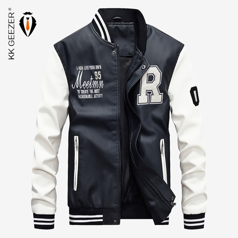 Leather Jacket Men Bomber Baseball Jacket Biker Pu Coat Faux Pilot  Varsity Fleece College Top Leather Black Slim Fit Motorcycle