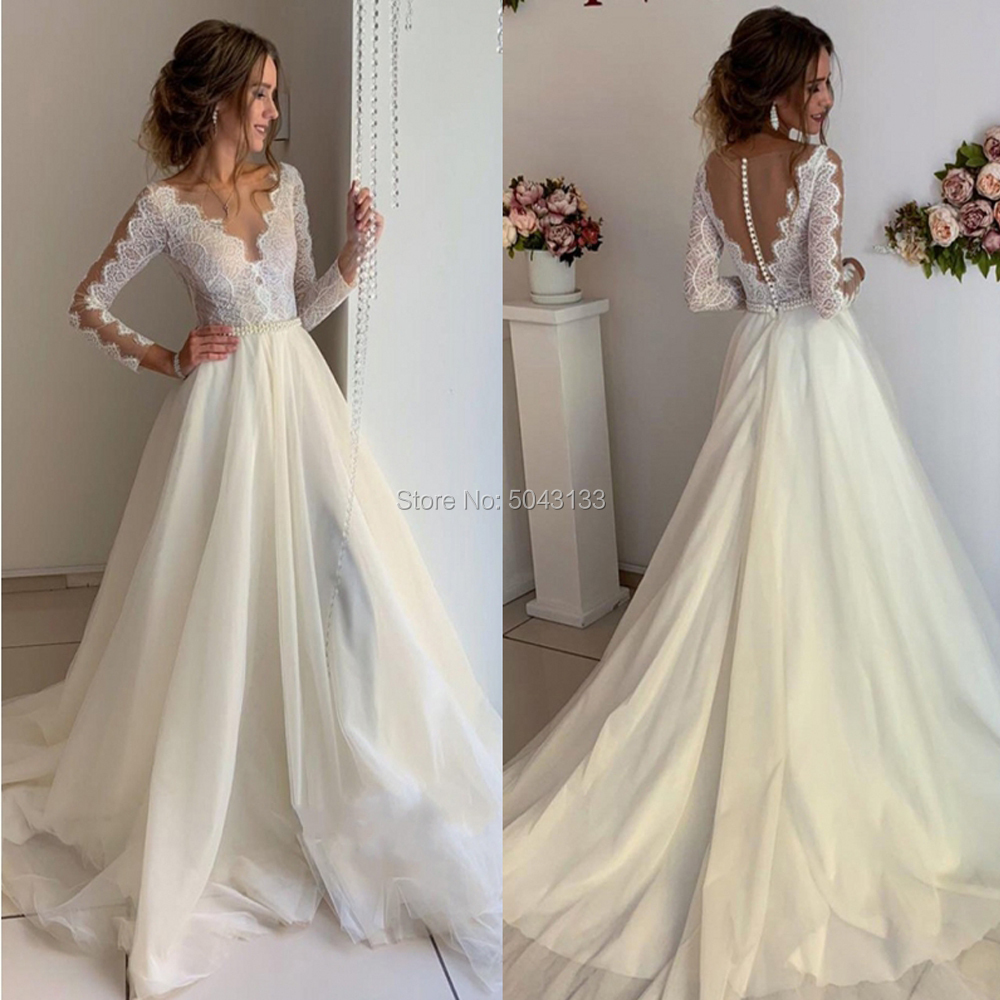 See Through Top A Line Soft Tulle Wedding Dresses 2020 Lace Long Sleeves Floor Length Bridal Gowns With Beaded Sash Buttons Back
