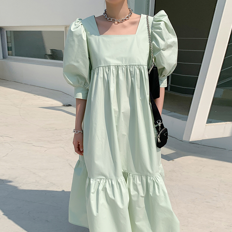 2020 New Summer Women Vintage Loose High Waist Slim Was Thin Elegant Square Collar Puff Sleeve Maxi Dress