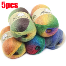 5pcsX100g 100% Cashmere Yarn crochet yarn for knitting Rainbow Line Fancy Melange Combed Sewing High Quality