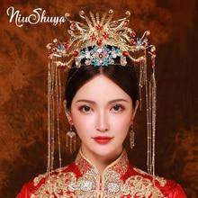 NiuShuya Luxury Wedding Bride Traditional Chinese Hair Accessories Headdress Gold Peacock Hairband Crown Jewelry Ornament