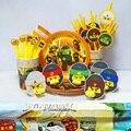Новый ниндзя на день рождения, товары для вечеринки в масках ниндзя, бумажный соломенный бумажный поднос, сувениры в тематике супергероев д...