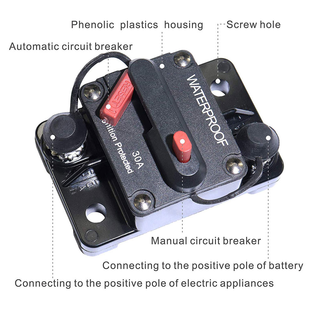 200 Amp Circuit Breaker Trolling Motor Manual Trip Switch 3//8 Stud Boat Solar Project Motorhome RV Travel Trailer Automotive Camper Battery Circuit Breakers 12V-48V