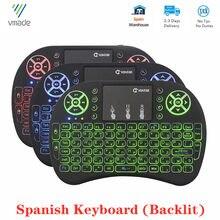 I8 Mini kablosuz arkadan aydınlatmalı klavye İspanyolca sürüm 2.4Ghz hava fare Touchpad akıllı android TV kutusu Mini dizüstü bilgisayar gemi ispanya'dan