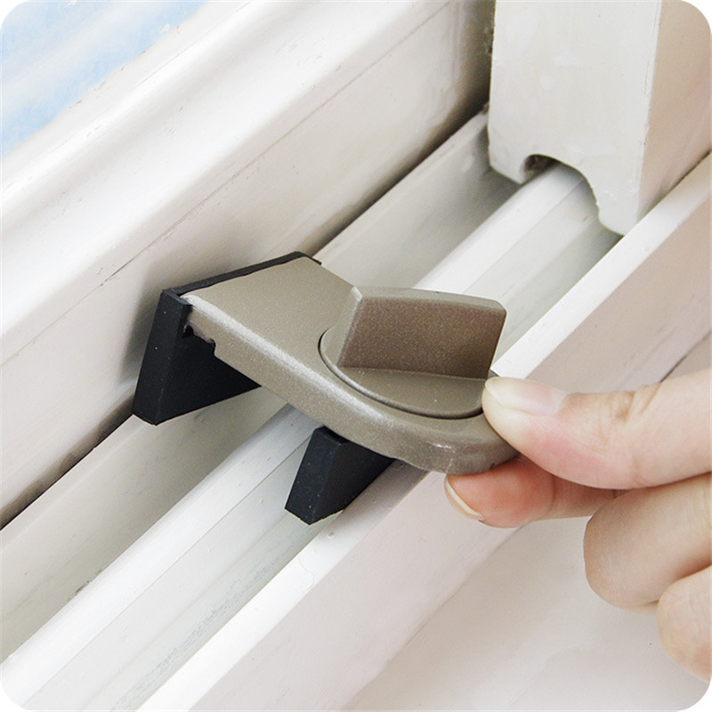 4Sets Adjustable Sliding Sash Stopper Window Lock Stop Aluminum Alloy Door Security Lock Home Office Safety Lock Anti-Theft-Lock
